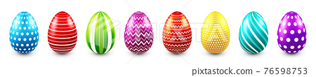 Colorful Easter eggs isolated on white background. Seasonal spring decoration element. Egg hunt game 76598753