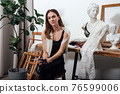 Portrait of a woman lingerie designer sitting in her studio 76599006