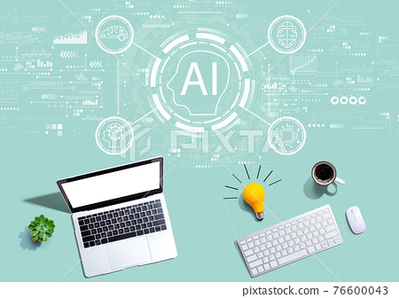 AI concept with computers with a light bulb 76600043
