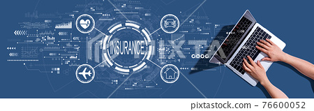Insurance concept with woman using a laptop 76600052