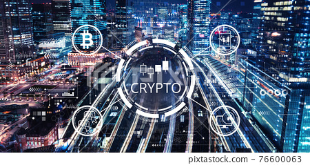 Crypto Trading theme with a large train station 76600063