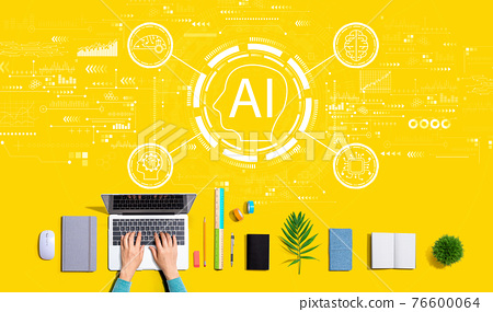 AI concept with person using a laptop 76600064