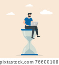Man sitting on an hourglass and working on her laptop. Multitasking, productivity and time management concept. 76600108