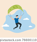 Man is flying using bank note as a parachute, symbolizing financial success and good profit even in crisis times. 76600110