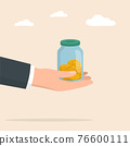 Hand with moneybox full of coins. Saving coin in moneybox. Income, savings, investment. 76600111