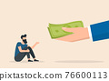 Big hand give money to helpless businessman. Alms concept. Social inequality. 76600113