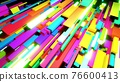 3d render. Abstract background with multicolor cubes or blocks grid in air and neon lights. Blocks like neon bulbs. Motion design bg for festive event 76600413