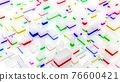 3d render. abstract light background with network of different sizes white bloks, some with multicolor glow. Visualisation of working ai with big data or blockchain technology. White matte glass. 76600421