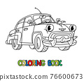 Funny small retro car with eyes. Coloring book 76600673