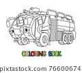 Fire truck or fire engine with eyes Coloring book 76600674