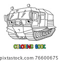 Funny rover car. Amphibious vehicle coloring book 76600675