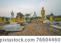 Row of Buddha statues. Old ruins of a temple in Wat Phai Rong Wua temple, Song Phi Nong, Suphan Buri. Famous tourist attraction landmark. Thai History architecture. 76604460