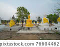 Row of Buddha statues. Old ruins of a temple in Wat Phai Rong Wua temple, Song Phi Nong, Suphan Buri. Famous tourist attraction landmark. Thai History architecture. 76604462