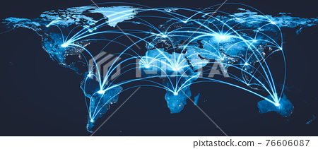 Global network connection covering the earth with lines of innovative perception 76606087