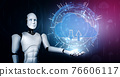AI robot using cloud computing technology to store data on online server 76606117
