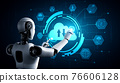 AI robot using cloud computing technology to store data on online server 76606128
