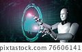 AI robot using cloud computing technology to store data on online server 76606141