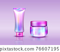 Holographic cosmetics pack iridescent tube and jar 76607195