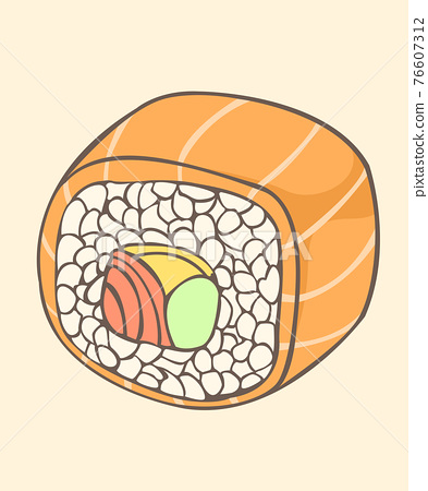 sushi salmon roll Japanese food style Isolated vector and illustration. 76607312
