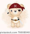 Cute pirate bear hand drawn cartoon animal watercolor illustration 76608046