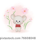 Cute little mouse and and cosmos flower, cartoon animal watercolor illustration 76608048