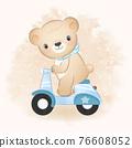 Cute bear riding a motorcycle hand drawn illustration 76608052