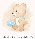 Cute teddy bear playing football hand drawn illustration 76608053