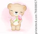 Cute Little Bear and flowers, cartoon animal watercolor illustration 76608057