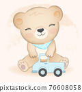 Cute little bear and truck toy hand drawn illustration 76608058