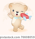 Cute little bear and plane toy hand drawn illustration 76608059