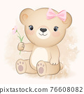 Cute Little Bear and cosmos flower, watercolor illustration 76608082