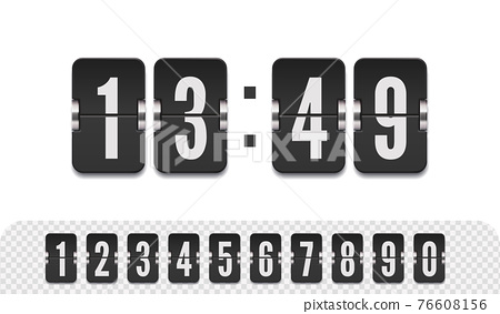 Vector modern ui design of old time meter with numbers. Scoreboard number font. Retro design score board clock template 76608156