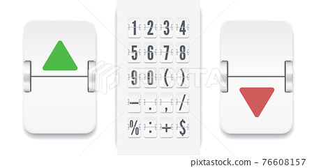Retro score board clock template. White scoreboard number font. Vector modern ui design of old time meter with numbers. 76608157