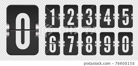 Set of flip scoreboard numbers for countdown timer or calendar. Vector template on transparent background. 76608158