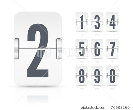 Vector template with white flip scoreboard numbers and reflections for white countdown timer or calendar 76608160