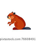 Beaver builder and looks around in surprise. Cartoon character of a small mammal animal. A wild forest creature with brown fur. Side view. Vector flat illustration isolated on a white background 76608491
