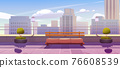 Rooftop terrace with bench on city view background 76608539