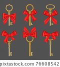 Old gold keys with tied red bow 76608542