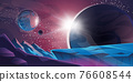 Cosmic background, alien planet deserted landscape 76608544