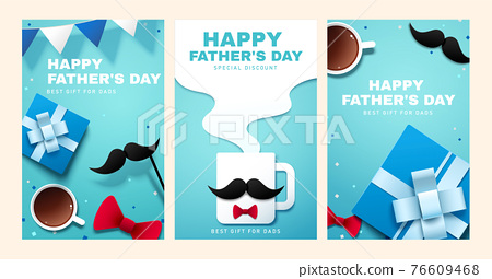 Father's day promo blue banner set 76609468