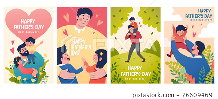 Flat illustrations of Father's Day 76609469
