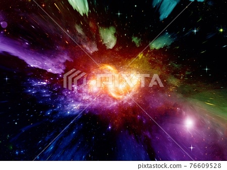 galaxy in a free space. 3D rendering 76609528