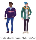 Couple Young mans students in modern spring trendy clothes. Fashion casual outerwear street style characters. Flat cartoon style vector isolated illustration 76609652
