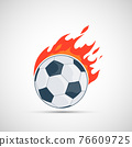 Soccer ball is burning with flame. 76609725