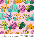 Bright underwater seamless pattern with beautiful corals. 76609866