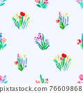 Seamless pattern with flowers, plant vector background. 76609868