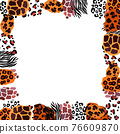 Animal vector frame. Abstract border on white background 76609870