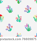 Seamless pattern with flowers, plant vector background. 76609875