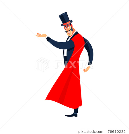 Showman. Young male entertainer, presenter or actor on stage. The guy in the red cloak and the cylinder. Cartoon vector illustration isolated on a white background 76610222
