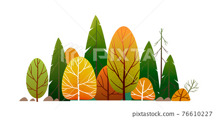 Forest Landscape, Green trees park, alley and foliage in summer. Row of trees and shrubs. Cartoon vector illustration isolated on white background 76610227